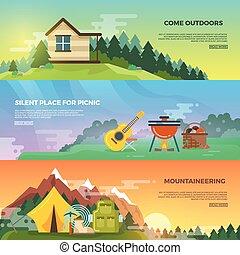 vecteur, plat, ensemble, bannière, camping