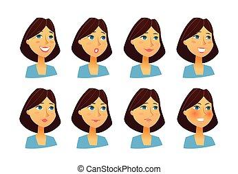 vecteur, plat, femme, -, ensemble, images, expressions