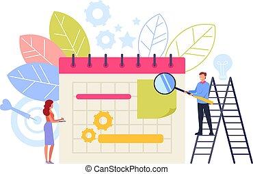 vecteur, plat, graphique, business, concept., illustration, planification, conception, organisation, dessin animé
