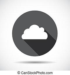 vecteur, plat, icône, nuage, shadow., long, illustration.