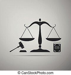vecteur, plat, law., concept, icône, balances, enchère, justice, symbole, justice., isolé, légal, symbole., gris, arrière-plan., livre, illustration, marteau, droit & loi, design.