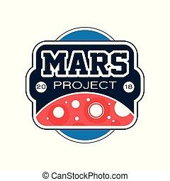 vecteur, plat, project., emblème, coloré, écusson, résumé, ou, space., étiquette, planète, voyage, conception, rouges, mars, exploration, mission, inscription., impression, logo