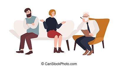 vecteur, plat, psychologue, relation, famille, conflit, psychothérapeute, couple, séance, personnes agées, ou, problem., mariés, mariage, sofa, devant, ils., crise, psychanalyste, dessin animé, illustration.