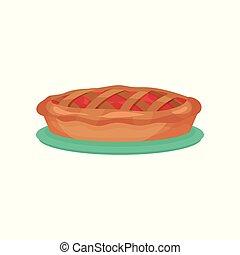 vecteur, plat, turquoise, traditionnel, plaque., pomme, coloré, nourriture, menu, ou, recette, tarte, fruit, élément, dessert., livre, délicieux, icon., café, dessin animé