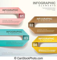 vecteur, plier, résumé, étiquette, infographic, éléments