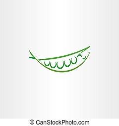 vecteur, pois, art, icône, logo, stylisé, symbole