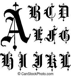 vecteur, police, gothique, moyen-âge, a-l