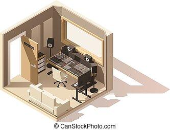 vecteur, poly, bas, studio, isométrique, icône, enregistrement