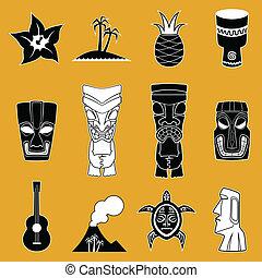vecteur, polynésien, icônes