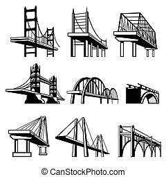 vecteur, ponts, ensemble, perspective, icônes