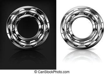 vecteur, &, portées, métal, illustration, fond, noir, blanc, rouleau