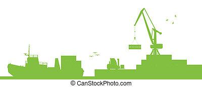 vecteur, port, concept, transport, bateaux, industriel, écologie, rivage, grue