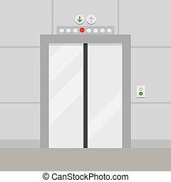 vecteur, porte, ascenseur, illustration, fermé