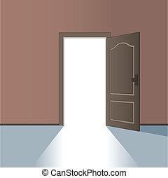 vecteur, porte, ouvert