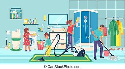 vecteur, portion, ménage, salle bains, nettoyage, confortable, enfants, conception, dessin animé, illustration., style, famille, maison, joyeux, parents
