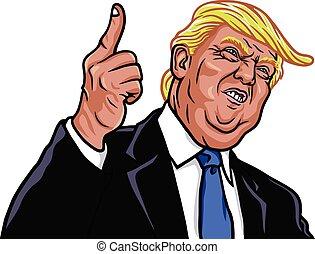vecteur, portrait, donald, président, 45th, atout, etats unis, illustration