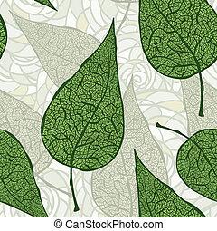 vecteur, pousse feuilles, vert, seamless, vendange