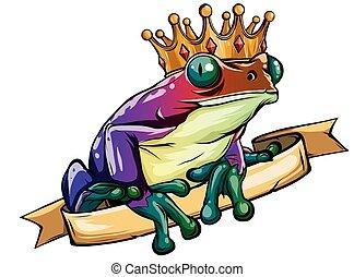 vecteur, prince, attente, être, grenouille, tenue, embrassé, heart.