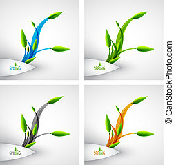 vecteur, printemps, concept