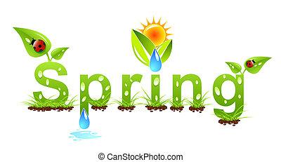 vecteur, printemps, concept, mot