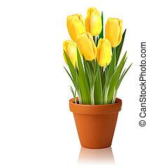 vecteur, printemps, fleurs fraîches, jaune
