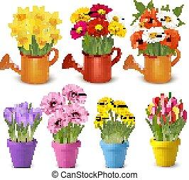 vecteur, printemps, pots., grand, été, fleurs, collection, coloré