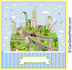 vecteur, printemps, town., ensoleillé, illustration.