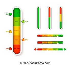 vecteur, progression, indicator., élément, niveau, glisseur, template., couleur, barre, progrès, infographic, mesure, illustration, vertical