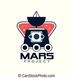 vecteur, projet, autocollant, emblème, coloré, plat, science, space., ou, voyage, conception, exploration, mars, impression, logo, ligne, astromomie, écusson, style., rover.