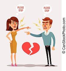 vecteur, quarrel., homme, dessin animé, plat, couple, illustration, caractères, femme
