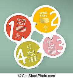 vecteur, quatre, infographic, étapes, papier, gabarit, cercle