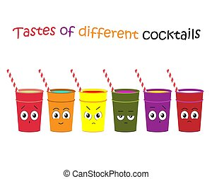 vecteur, réaction, différent, ensemble, illustration., illustration, cocktails., cocktails, flavors.