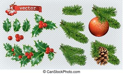vecteur, réaliste, decorations., noël, houx, baies, ensemble, impeccable, 3d, icône, conifère, rouges, babiole, cone.