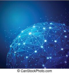 vecteur, réseau, numérique, maille, global, illustration