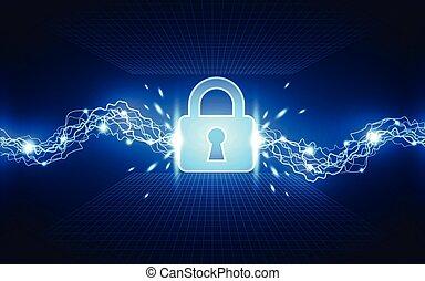 vecteur, réseau, résumé, global, illustration, fond, sécurité, technologie