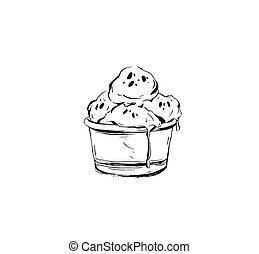 vecteur, résumé, tasse, balles, croquis, main, glace, dessiné, graphique, illustration, blanc, crème, isolé, encre, icône, fond