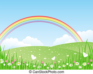 vecteur, rainbow., il, paysage