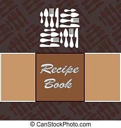 vecteur, recette, book., gabarit