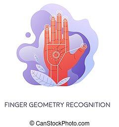 vecteur, reconnaissance, balayage, doigt, main, accès, géométrie