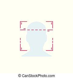 vecteur, reconnaissance, figure, facial, balayage
