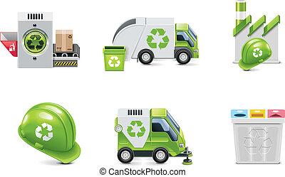 vecteur, recyclage, ensemble, déchets ménagers, icône