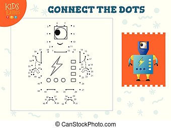 vecteur, relier, points, jeu, gosses, illustration
