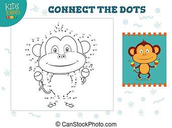 vecteur, relier, points, mini, jeu, gosses, illustration