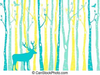vecteur, renne, forêt, arbres, bouleau