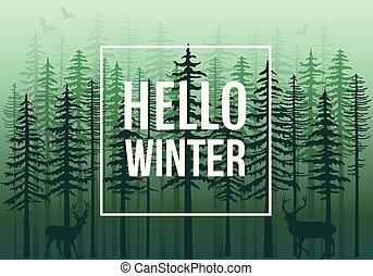 vecteur, renne, vert, hiver, forêt