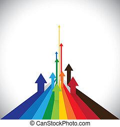vecteur, représenter, graphique, coloré, etc, ceci, flèches, projection, quelques-uns, ventes, illustration, aussi, concurrents, vainqueurs, bien, performance, exécutions, employé, losers., ou, boîte