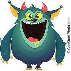 vecteur, rigolote, dessin animé, monster., illustration