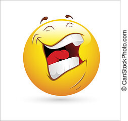 vecteur, rire, smiley, icône