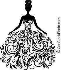 vecteur, robe, femme, silhouette, jeune