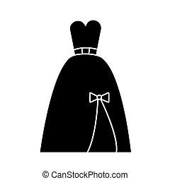 vecteur, robe, nuptial, fond, soir, icône, isolé, signe, illustration